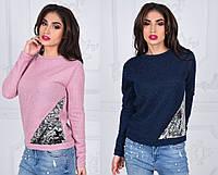 Женский молодежный свитер с паетками