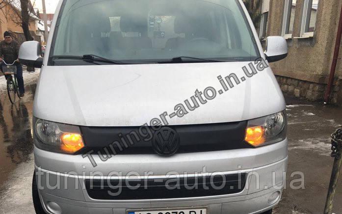 Зимняя накладка на решетку радиатора Volkswagen Transporter T5+ 2010- (в бампер)