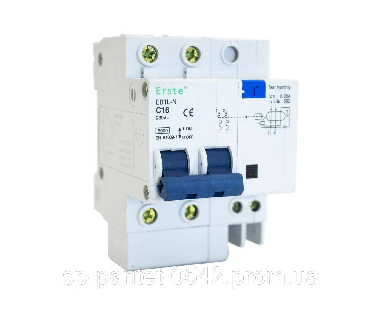 ДифАвтомат ЕВ1L-N 2Р 16А 6кА, арт ЕВ1L-N 2Р 16А (3шт/уп)