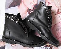 Женские осенние черные сапоги в стиле Zanotti Kleori ботинки заклепки! шнуровка кожа, фото 1
