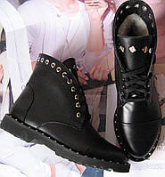 Женские зимние сапоги в стиле Zanotti Kleori ботинки заклепки! шнуровка кожа, фото 1