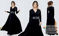 Вечернее платье в пол, с красивым узором из страз на талии / 4 цвета  арт 3367-92