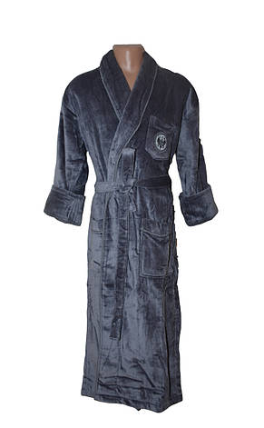 Мужской халат без капюшона Bleda серый, фото 2
