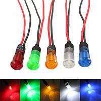 12v 8 мм LED Индикатор панели приборов свет лампы синий янтарь красный зеленый белый провод с