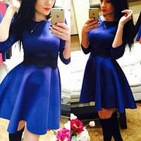 Платье мини женское, пышное платье от груди, платье с кружевом. Разные размеры и цвета., фото 1