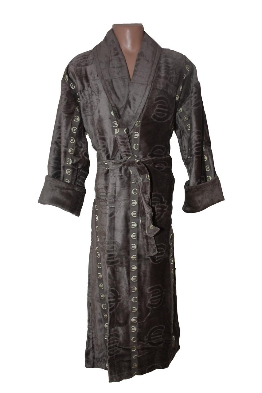 Махровый длинный мужской халат € коричневый