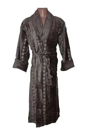 Махровый длинный мужской халат € коричневый, фото 2