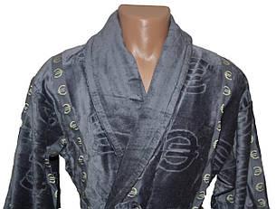Махровый длинный мужской халат € серый, фото 2