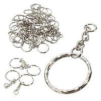 50шт 55мм Брелок заготовки серебряный тон брелок брелок сплит кольца 4 звена цепи