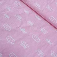 Ткань с белыми коронами на розовом фоне, ширина 160 см, фото 1