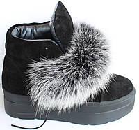 Молодежные ботинки замшевые с мехом, ботинки женские молодежные замша от производителя модель Т1519-1