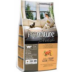 Сухой корм для котов Pronature Holistic (Пронатюр Холистик) с уткой и апельсинами Без Злаков, 340 г