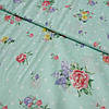 Поплин Прованс с цветами на мятном фоне в горошек, ширина 220 см
