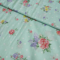 Поплин Прованс с цветами на мятном фоне в горошек, ширина 220 см, фото 1