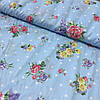 Поплин Прованс с цветами на голубом фоне в горошек, ширина 220 см