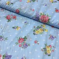 Поплин Прованс с цветами на голубом фоне в горошек, ширина 220 см, фото 1