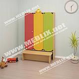 Шафа дитячий 3-х секційний з крамницею з кольоровими дверима. Шафи для одягу в дитячий садок, фото 9