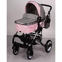 Коляска детская универсальная от рождения EL CAMINO ME 1006-11 серо-розовая