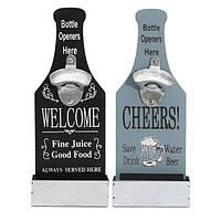 VintagE-установленный деревянный стенд для открывания бутылок с барной стойкой