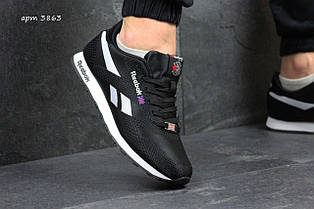 Чоловічі кросівки Reebok,щільний текстиль,чорно-білі 44р