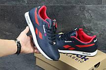 Мужские кроссовки Reebok,плотный текстиль,темно синие с красным, фото 3