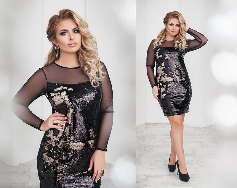 bad8f7855ff ... Нарядное красивое женское платье большого размера двустороняя пайетка  сетка трикотаж +цвета