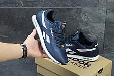 Мужские кроссовки Reebok,плотный текстиль,темно синие с белым, фото 3