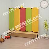 Детский шкаф для раздевалки 5-ти секционный с лавкой с цветными дверцами., фото 9