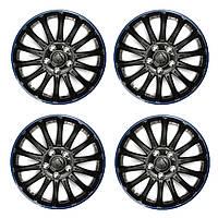 4 штук универсальные 14-дюймовые синие черные колпаки колес спортивного автомобиля покрывают заглавные буквы центра