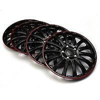 4pcs пластмассовый универсальный набор 14-дюймовых красных черных автомобильных колпаков колес спортивных состязаний покрывают заглавные