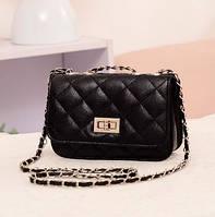 Женская маленькая сумочка на цепочке черного цвета опт, фото 1