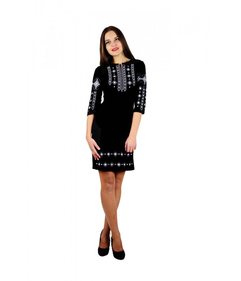 Чорне жіноче плаття з вишивкою Ромби - Цікавий магазинчик в Яготине 5863fc93636d4