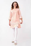 Нежное подростковое платье для девочки украшено жемчужинами, пудровое