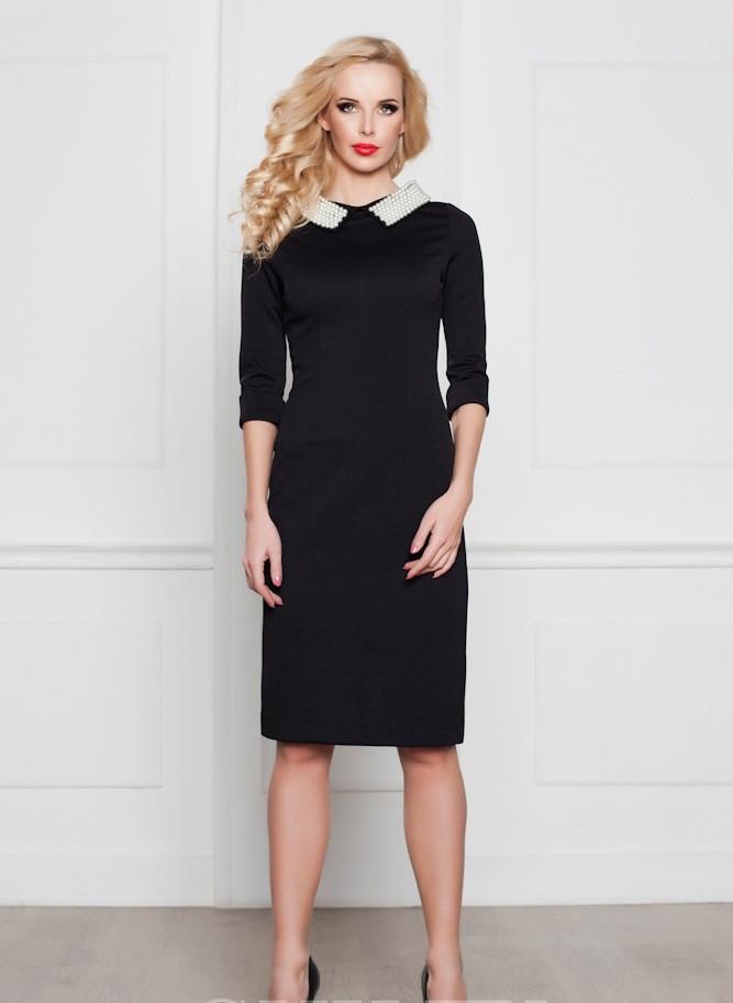 Платье Victoria Beckham черное с жемчугом 3/4 рукав