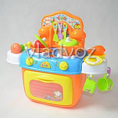 Детская пластиковая игровая кухня для девочки, плита 2 камфорки оранжевая Kitchen Kids