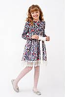 Нарядное трикотажное платье для девочки с пышной юбкой