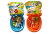 Пупс кукла 3A-5198 2 вида функциональный ванна - течет вода аксессуары для купания.