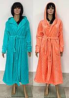 Женский банный халат из турецкой полированной махры с выбитым узором 48-54 р, женские банные халаты оптом