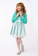 Изысканныйпраздничныйкостюм с болеро для девочки, мятного цвета