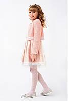 Изысканныйпраздничныйкостюм с болеро для девочки, пудрового цвета