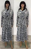 Женский банный халат из турецкой махры принт звездочки 48-54 р, женские банные халаты оптом