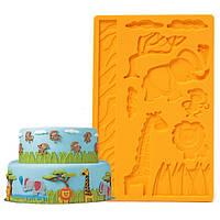 3d кружева зоопарк силикона тиснения формы животных джунглей мир помады торт плесень