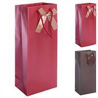 Пакет подарочный бумажный под бутылку 36 * 13 * 8 см
