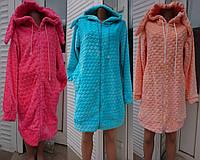 Женский короткий халат на молнии с капюшоном и ушками, женские махровые халаты оптом от производителя