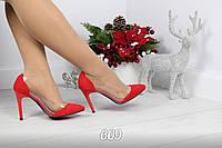 Стильные красные туфли лодочки с силиконовыми вставками Red