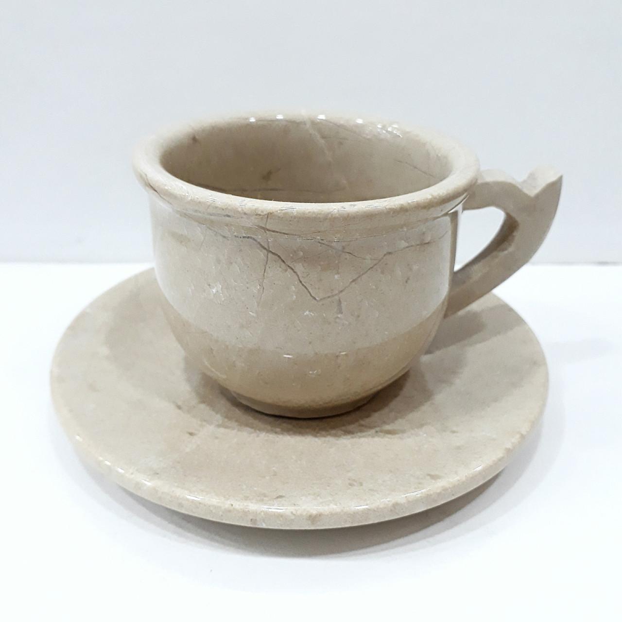 Чашка с блюдцем из натурального оникса