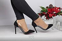 Красивые черные туфли лодочки с силиконовыми вставками Black