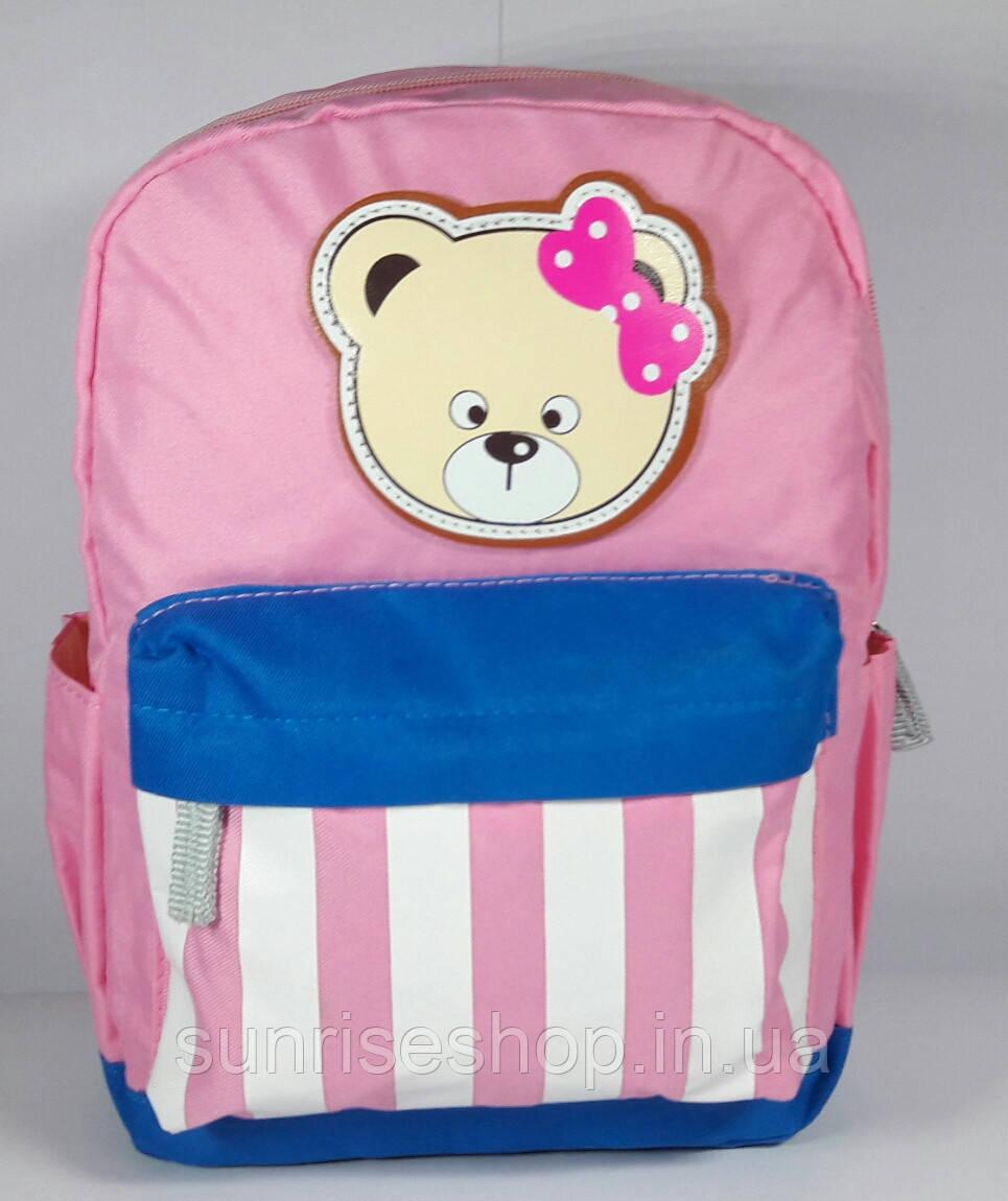 Рюкзак детский для девочки текстильный с наружным карманом