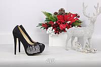 Только 35, 36 размер! Красивые Туфли женские на каблуке черные экозамш с камнями