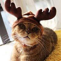 Рождество костюм домашний кот собачка рога шапка шляпа одежды любимчика
